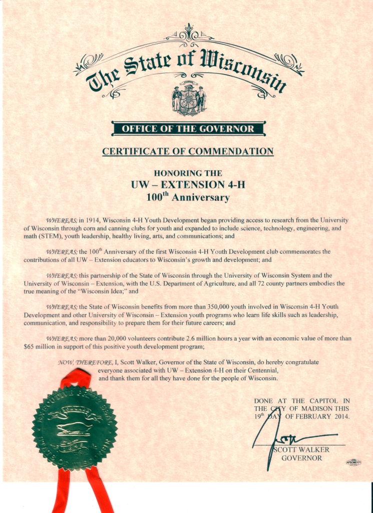 Wisconsin State Government recognizes 4-H Centennial – Wisconsin 4-H ...