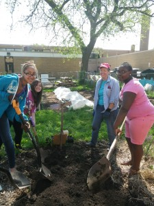 Master Gardener Volunteers with middle school students in Dane County, WI