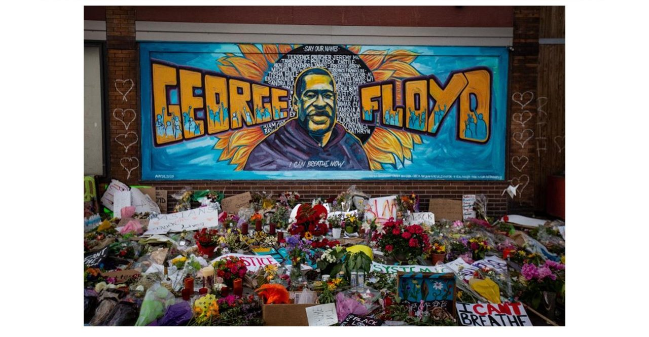 Memorial and mural of George Floyd outside Cup Foods in Minneapolis.