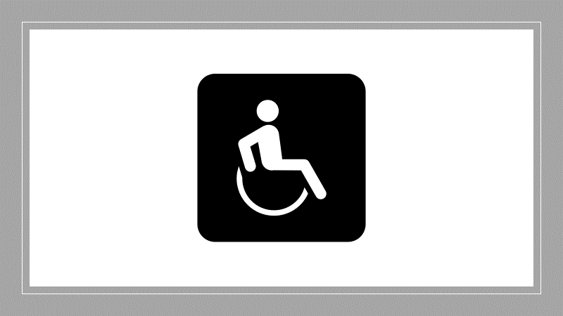 disabled person icon and link to ADA & accessibility consultation request