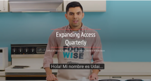 banner image from Winter 2021 issue of EAQ showing image captured from FoodWIse video in Spanish