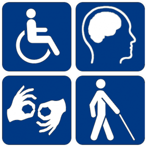 Collection of four symbols representative of physical and cognitive accessibility: a person using a wheelchair, a human brain, hands using sign language, and a person walking with a cane.