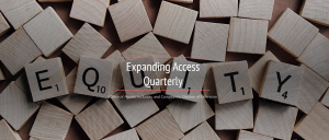 image of newsletter banner showing word equity in scrabble letters