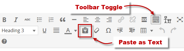 Toolbar Toggle and Paste as Text Button