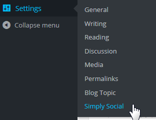 Select Simply Social from Setttings