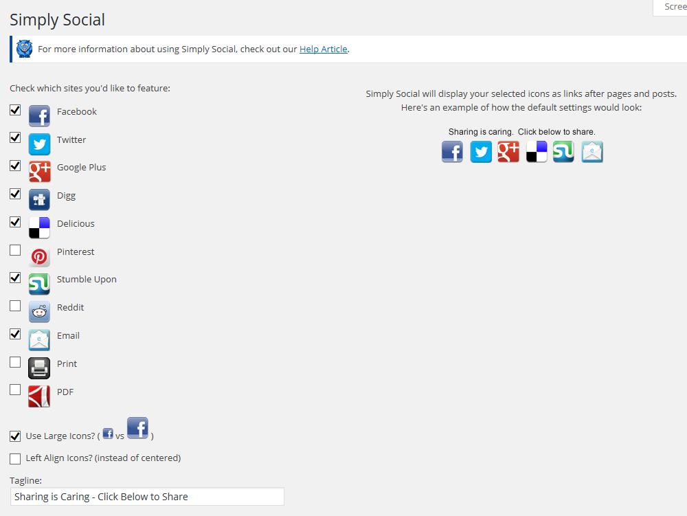Icon selection screen for Simply Social