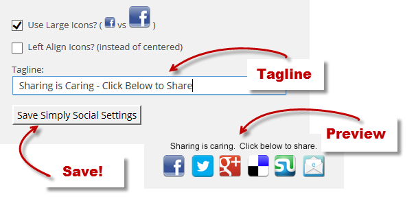Add Tagline, see preview and save