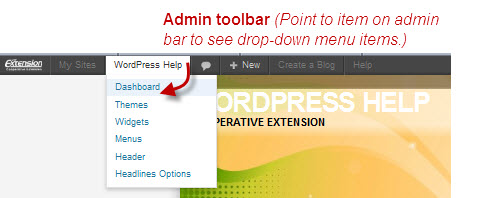 Access dashboard from Admin Toolbar