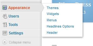 Additional menu items at bottom of Dashboard side menu