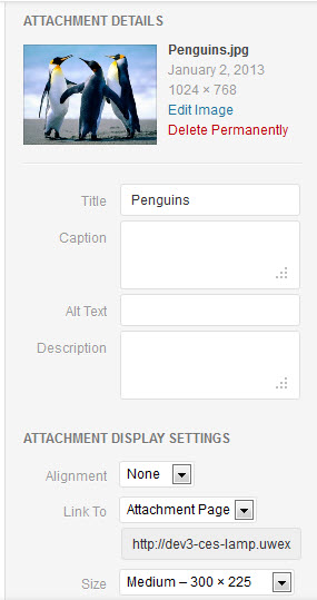 Attachment detail settings for uploaded images