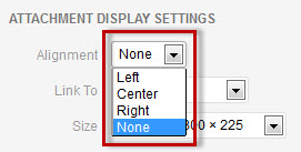 Pull-down menu for selecting image alignment