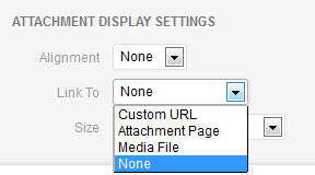 Select the image's Link URL from the pull-down menu