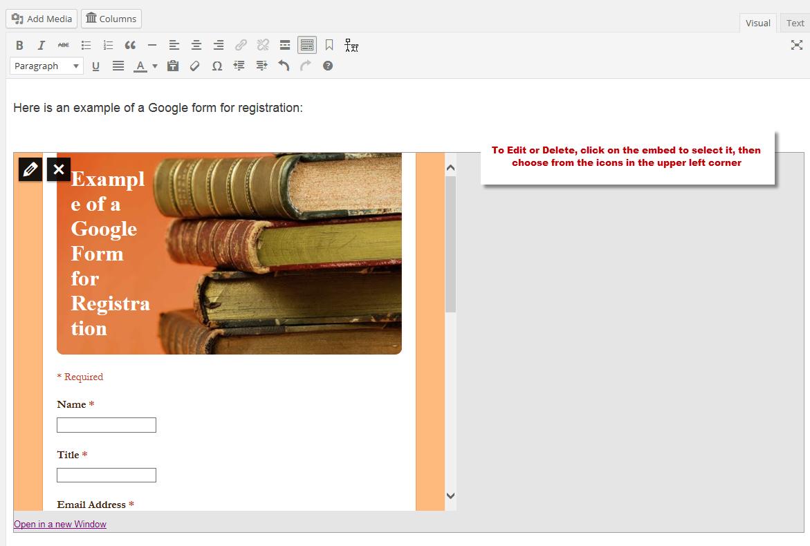 Embed a Google Form – WordPress Help