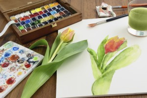 Paint set and tulips