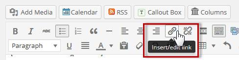 click on insert-edit link quicktag