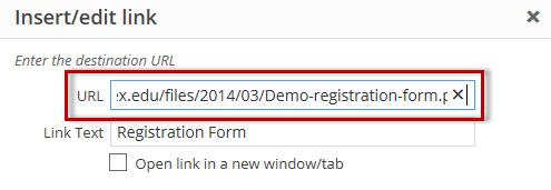 Type in link in insert edit link window