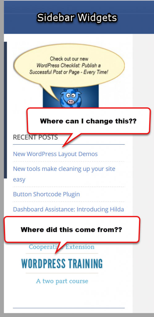 Where can I change widgets in sidebar?
