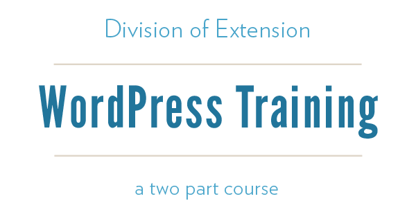 Division of Extension WordPress Training