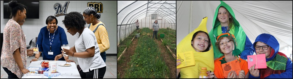 Three photos of youth participation in YACH projects. Youth are making healthy yogurt snacks, tending to a greenhouse, and distributing flyers dressed as fruit and vegetables.